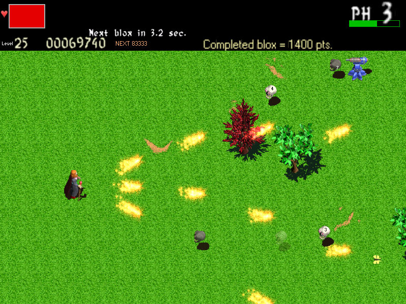 A 2D horizontal shooter that combines traditional shooter and RPG elements.